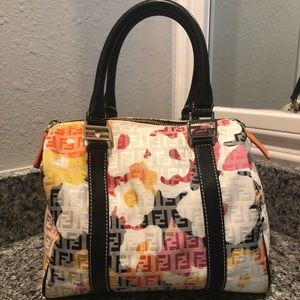 REAL Fendi Zucchino Foral Forever Boston Bag